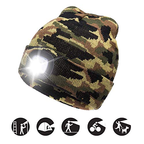 atnke led lighted beanie cap, usb running hat ricaricabile ultra bright 4 led waterproof light lampada e allarme lampeggiante proiettore multicolore/camouflage green