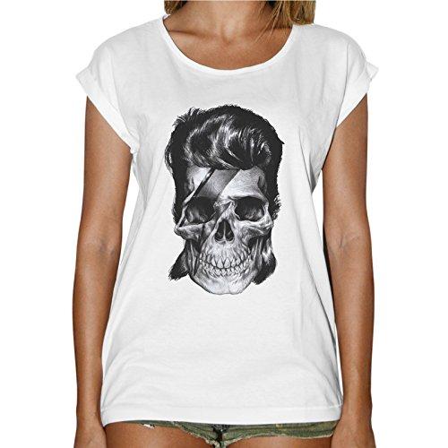 T-Shirt Donna Fashion David Bowie Teschio Fulmine Tattoo - Bianco