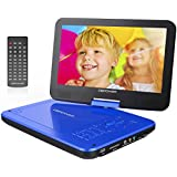 DBPOWER 10.5'' Portable DVD Player With Swivel Screen, 4 Hours Rechargeable Battery, SD Card Slot And USB Port - Blue