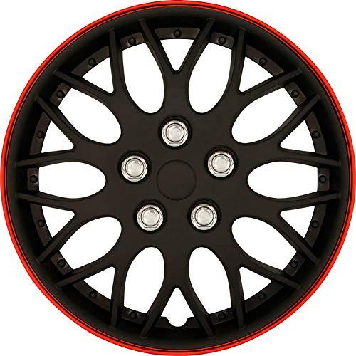 AutoStyle KT970-15MBK + R Set Copricerchio Missouri 15 Nero Opaco/Cerchio Rosso, 4 pezz