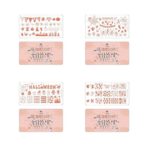 n Party Nail Art Stamping Kit Urlaub Stempel Teller Maniküre Vorlage 4-teilig (Cici Und Sisi Halloween)