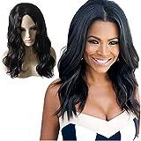 Espeedy Las mujeres de onda larga pelucas naturales de pelo negro pelucas de fibra sintética resistente al calor accesorios