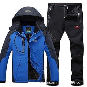 Herren Skianzüge Winter Kälteschutz Warmhalten Bergsteigeranzug Furnier Doppeldecker Ski Jacket Hose