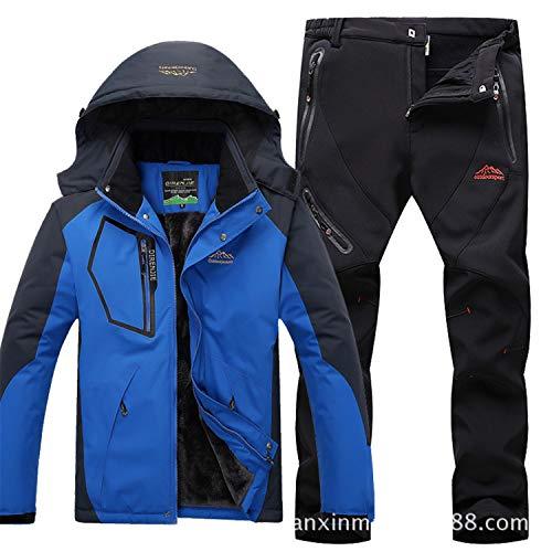 Herren Skianzüge Winter Kälteschutz Warmhalten Bergsteigeranzug Furnier Doppeldecker Ski Jacket Hose, Farbe blau/schwarz, 4XL