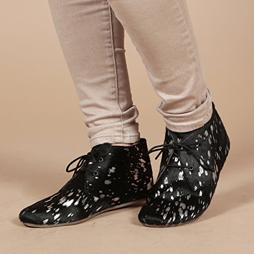 Aspele Hairon - Bottes Imprimé Cheetah en Cuir Plat Splash Black Sliver