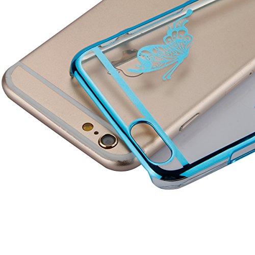 JAWSEU Coque pour iPhone 6 Plus/6S Plus 5.5,Apple iPhone 6S Etsui Housse en Silicone Glitter,iPhone 6 Housse Ultra Mince Transparent Flexible Souple Coque Cas Soft Gel Protective Case Luxe Élégant Fem bleu/papillon
