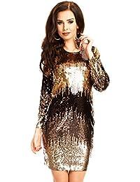 Paillettenkleid mit Farbverlauf Glitzerkleid Cocktailkleid Abendkleid Gala Silvester