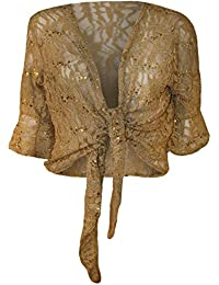 Neue Frauen Plus Size Floral Lace Sequin ¾ Glockenärmel Tie Up Bolero Cardigan 40-54