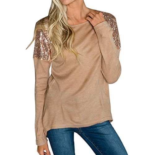 KaloryWee Womens Sequins O-Neck Long Sleeve Pullover Casual Fashion Shirt Blouse Tops