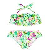 Changhants Belle Ragazze Swimwear Del bambino due Pezzi verde del vestito di stile Frills terreno con piante bambini 1-8Y costumi da bagno figlia sw0610