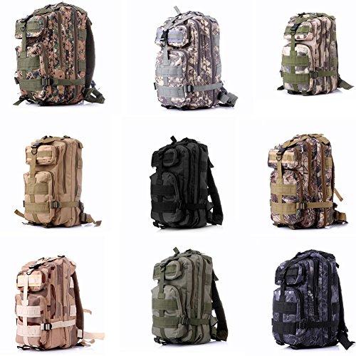 Katech Outdoor camouflage zaino grande capienza zaino militare uomini e donne borsa a tracolla impermeabile per i viaggi, campeggio, trekking, caccia, trekking, ciclismo, pesca, shopping o scuola Black