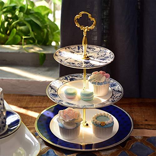 GYGN 3 Tier Cake Stand Platte Nachmittags Tee Keramik Bodenplatte Naturschlitze (Tier 3 Tee Stand)