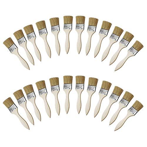 Kurtzy 24er-Set Malpinsel- Flachpinsel mit Holzgriff- Für die Arbeit mit Acrylfarbe, Wasser basierter Farbe, Lack, Beizen, Stofffarbe- Perfekt für Möbel, für das Streichen von Wänden und Tapezieren
