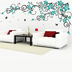 DecoMatters Butterfly Vine Flower Wall Stickers, [Black ...