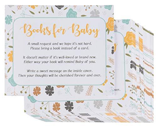 Sustainable Greetings Bücher für Babywunschkarten - Einladungseinlage für Babyparty, für Partys, Geschlecht, Geschenkanfrage, Unisex, Blumenmuster, 7,6 x 6,3 cm (Index Karten Baby)