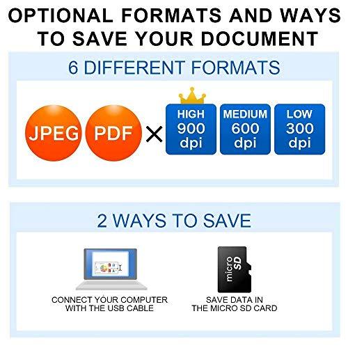 Handscanner Aoleca 900DPI Tragbarer Mobile Dokumentenscanner A4/B5 Scanner Visitenkartenscanner s/w und Farbe (Erweitern 8G Micro SD Karte, Hi-Speed USB 2.0 und OCR Software enthalten) - 4