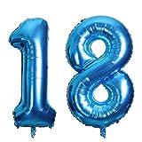SMARCY Luftballon Nummer 18 zum 18. Geburtstag Folienballon Dekoration von 18 ans (Blau)