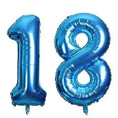 Idea Regalo - SMARCY Palloncini 18 Anni Palloncino per la Decorazione del 18 ° Compleanno (Blu)