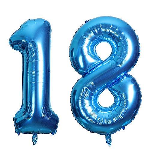 Smarcy palloncini 18 anni palloncino per la decorazione del 18 ° compleanno (blu)