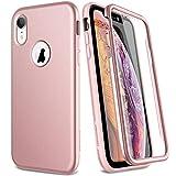SURITCH Sruitch Compatible avec Coque iPhone XR Silicone 360 Degrés Protection Souple Integrale Antichoc Qui Protege Bien Avant et Arrière Etui Case Cover - Rose Gold