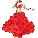 AAA Products® MoLiYanZi Perline in lustro Costume Danza del Ventre per Le Donne Professionale Prestazioni Abito Legare Reggiseno Cintura Gonna 3 pz, Red