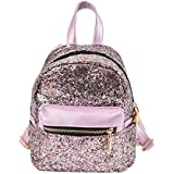 Girls Cute Sequin Mini Backpack Leather Purse Women Backpack Leather Cross Body Bag (Purple)