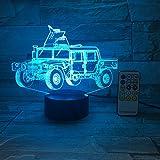 Camion militaire voiture 3d illusion optique Table lumière humeur lampe tactile télécommande 7 couleurs accueil nouveauté lumière cadeaux