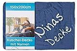 Wolimbo Wohndecke Kuscheldecke mit Namen Bestickt Farbe: dunkelblau Größe: 200x150cm Microfaser Flauschdecke