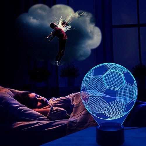 Lampada da tavolo di calcio 3d jingxu; lampada da notte con luce in 7colori, si illumina con interruttore smart touch e cavo usb, giocattoli decorativi per un regalo creativo.