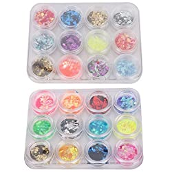 47krate 12 Color Nail Art UV Gel Acrylic Crushed Shell Powder + 12 Color Hexagon Shiny Glitter Flakes Decor