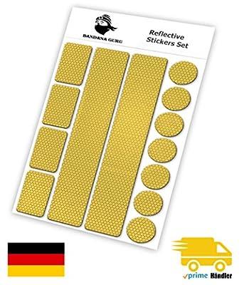 Reflektoren Aufkleber Sticker Set (13 Stück) Für Kinderwagen, Fahrrad, Schulranzen, Helmen, Jogger für mehr Sicherheit t Im Straßenverkehr bei Dämmerung und Abends - selbstklebend und hochreflektire