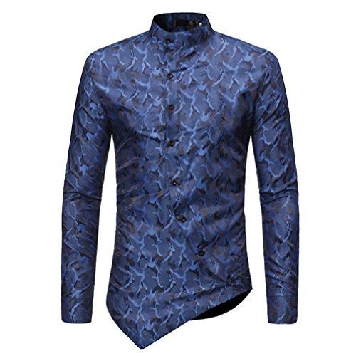 Usopu camicia da uomo a maniche lunghe casual da uomo a maniche lunghe con stampa asimmetrica, blu, l