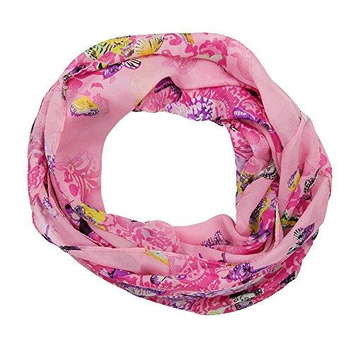 MANUMAR Loop-Schal für Damen | Hals-Tuch in Pink mit Schmetterling Motiv als perfektes Herbst Winter Accessoire | Schlauchschal | Damen-Schal | Rundschal | Geschenkidee für Frauen und Mädchen