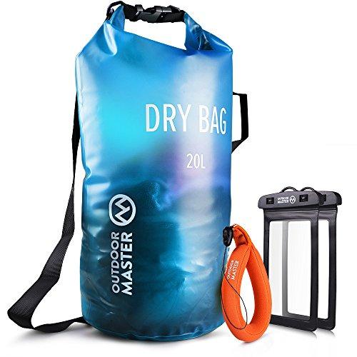 OutdoorMaster Dry Bag- 20L wasserdichter Leichter Trockensack Packsack für Schwimmen, Bootfahren, Angeln, Camping, Snowboarden - mit 2 freie Wasserdichte Handytasche & Float Handschlaufe ((Blau, 20L)