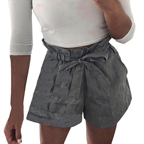 WQIANGHZI Damen Shorts Sport Frauen Summer Striped Print Buttons Bandage Jogging shorts Classic Jersey-Shorts Hotpant Training Kurze Hose Pants Jogginghose Sporthose Sommer Loose Fit Reizvolle - Fleece-jersey-trainingshose