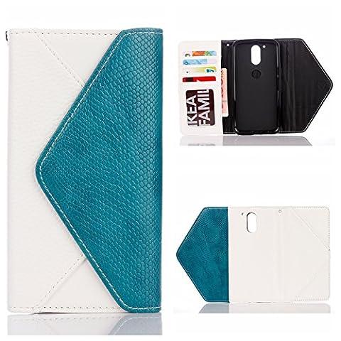 Voguecase® für Moto G4/G4 Plus hülle, Irregular Flip Stand Leder Tasche PU Brieftasche Schutzhülle mit Magnetic Closure und Karten Slots Case Cover (Umschlag/Weiß) + Gratis Universal Eingabestift