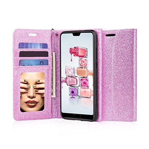 J & D Huawei P20Pro Case, [Glitzernde] [Spiegel Funktion] [RFID-blockierender] Sparkling Heavy Duty Schutz stoßfest Flip Cover Wallet Case mit Kartenschlitzen und Make-up Spiegel für Huawei P20Pro violett