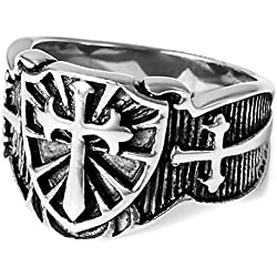 MunkiMix Acero Inoxidable Anillo Ring El Tono De Plata Negro Celta Celtic Medieval Cruzar Cruz Escudo Talla Tamaño 20 Hombre