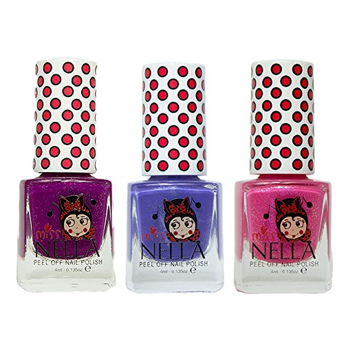 Miss Nella Jazzberry Jam, Sweet Lavendel, Tickle Me Pink spezielle Glitzer Kinder Nagellack mit Peel Off auf Wasserbasis Formel -