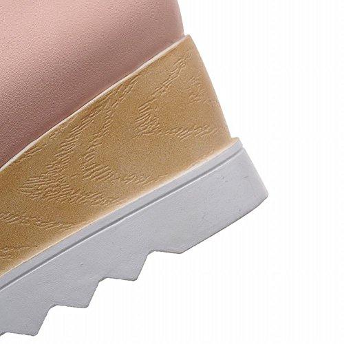 Mee Shoes Damen vierkant Quaste Keilabsatz Plateau Pumps Pink