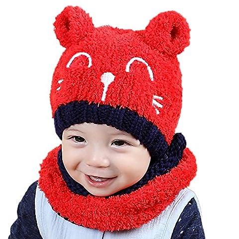 Fami Bébé Toddler Knitted Enfants Lovely Soft Hat + Écharpe Deux pièces Set (Rouge)