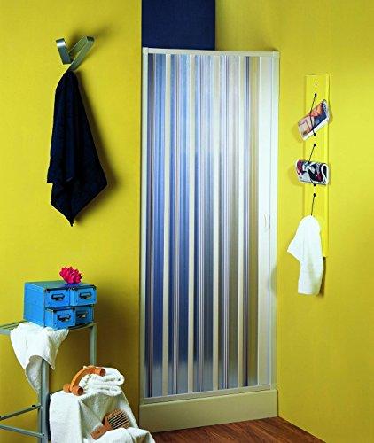 dusch falttuer Nischenfalttür | Nischendusche | Duschfalttür | Nürnberg | PVC transparent | 80-100x 185 cm, weiss
