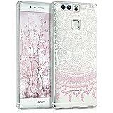 kwmobile Crystal Case Hülle für Huawei P9 aus TPU Silikon mit Indische Sonne Design - Schutzhülle Cover klar in Rosa Weiß Transparent