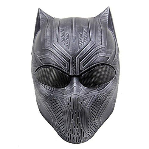 che Paintball-Maske für das ganze Gesicht, für Cosplay, Tierdesign, mit Metallnetz-Einsätzen an den Augen, perfekt für Halloween, Cosplay und Paintball-Jagd, silber, schwarz ()