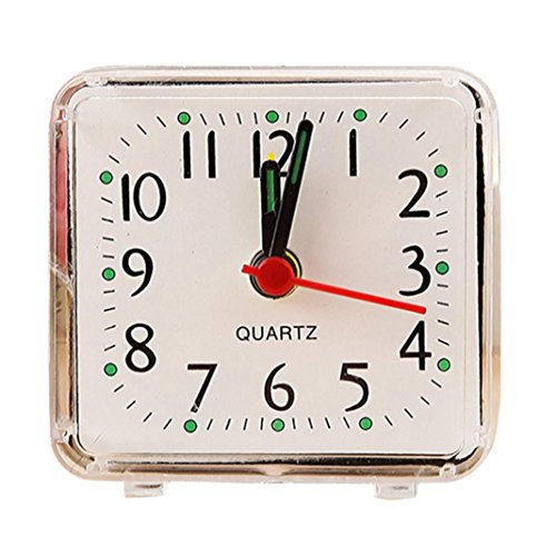 Zarupeng Kleine Quarzwecker, Quadratisch Elektronischer Reisen Analog Quarz Beep Wecker Tragbar Studenten Uhr (One Size, Weiß)