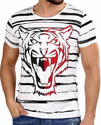 7e739d23ec545d Redbridge Men's T-Shirt Slim-Fit Striped Tiger Summer Casual Fashion Shirts  White