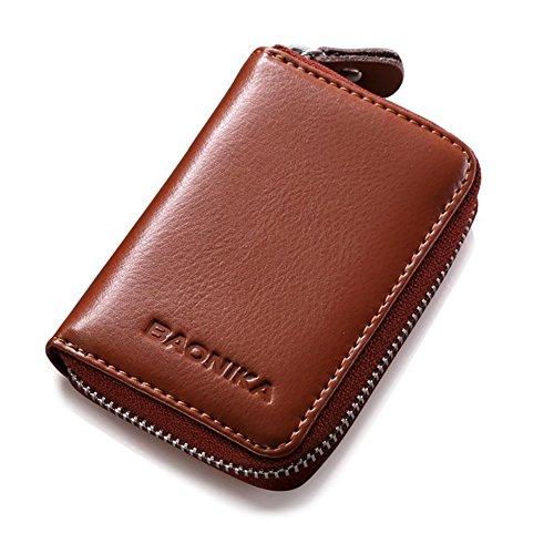 Características:   Baonika - Calidad superior Con la función RFID Blocking  9 ranura para tarjetas  eazy cremallera cerrada  Dimensiones: 10.5x7.5x2.5cm  Color: Marrón  Piel genuina  Gran detalle y bueno para su colección personal.  Te hace más confi...