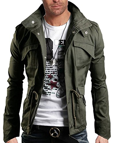 Mineton Uomo Moda Giacche Capispalla Cappotti Slim Bombardiere Jackets Cardigan Risvolto Giacca Uomini Verde IT 50