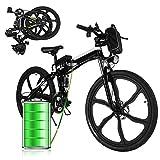 """E-Bike Bici Pieghevole Mountain Bike Bici Elettrica con Cambio Shimano 21 velocità, 250W, 8AH, Batteria agli ioni di Litio 36V, 26"""", Bici City Bike(Nero Bianco)"""