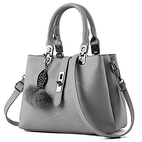 YAAGLE Buckle PU Leather Top-Handle Bags Shoulder Bags With Plush Pendant For Women and Girls